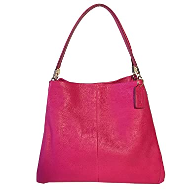 9c2ba49260 Coach Madison Leather Small Phoebe Shoulder Bag 34495 Pink Ruby  Handbags   Amazon.com