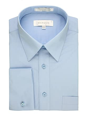 100b7ab67f83 Marquis Men's Solid French Cuff Dress Shirt (Cufflinks Included) at ...