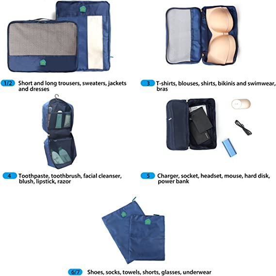 organisateurs demballage Multifonctionnel Bleu Id/éal pour Les Sacs de Voyage /& valises de Cabine Ensemble /économique de Sacs de Rangement de Voyage 7 pi/èces MonTr/üe 7 Set Packs demballage