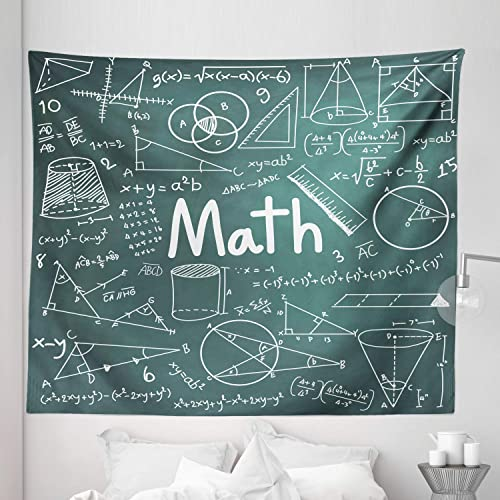 Lunarable Mathematics Classroom Tapestry King Size, School Board Full of Drawings Formulas Shapes Theory Math Lesson Word, Wall Hanging Bedspread Bed Cover Wall Decor, 104 X 88 , White Teal