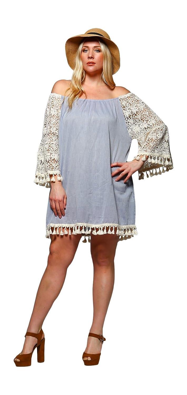 7c9221573a8 Velzera Women's Crochet Sleeve Off The Shoulder Fringe Tunic Mini Dress Reg  & Plus Size at Amazon Women's Clothing store: