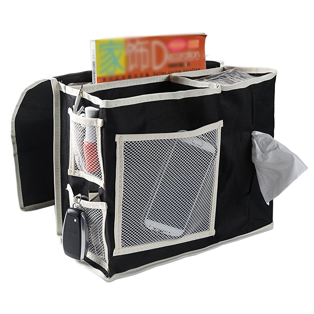 VOIMAKAS Bedside Hanging Storage Bag, 6 Pockets Oxford Cloth Organizer Bag for Book Magazine Phone Tissue TV Remote Accessory - Black by VOIMAKAS (Image #1)