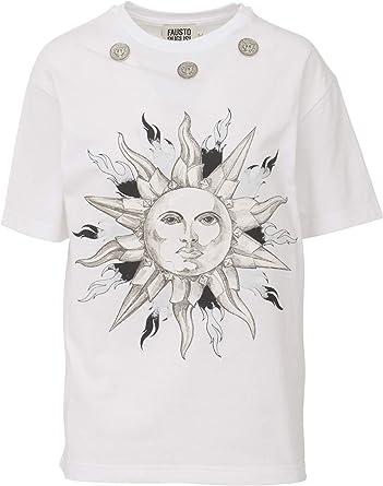FAUSTO PUGLISI - Camiseta blanca con sol negro Bianco 34: Amazon.es: Ropa y accesorios
