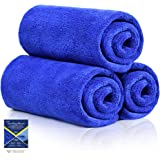 AutoGo 16x16 Inch Pack of 3 Versatile Microfiber Cleaning Cloth, High-Absorbent Lint-Free Streak-Free Towel for Car…