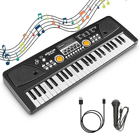 RenFox Teclado Electrónico Piano 49 Teclas Portátil Teclado Piano Digital USB Piano Electrico Keyboard Piano con Micrófono para Principiante, Negro