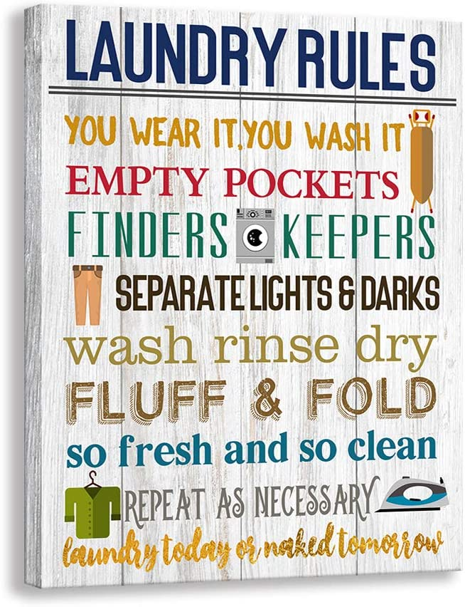 Kas Home Laundry Rules Canvas Wall Art Rustic Funny Prints Signs Framed Wood Background Bathroom HD Picture Artwork Home Decor (Laundry-02, 12 X 15 inch)
