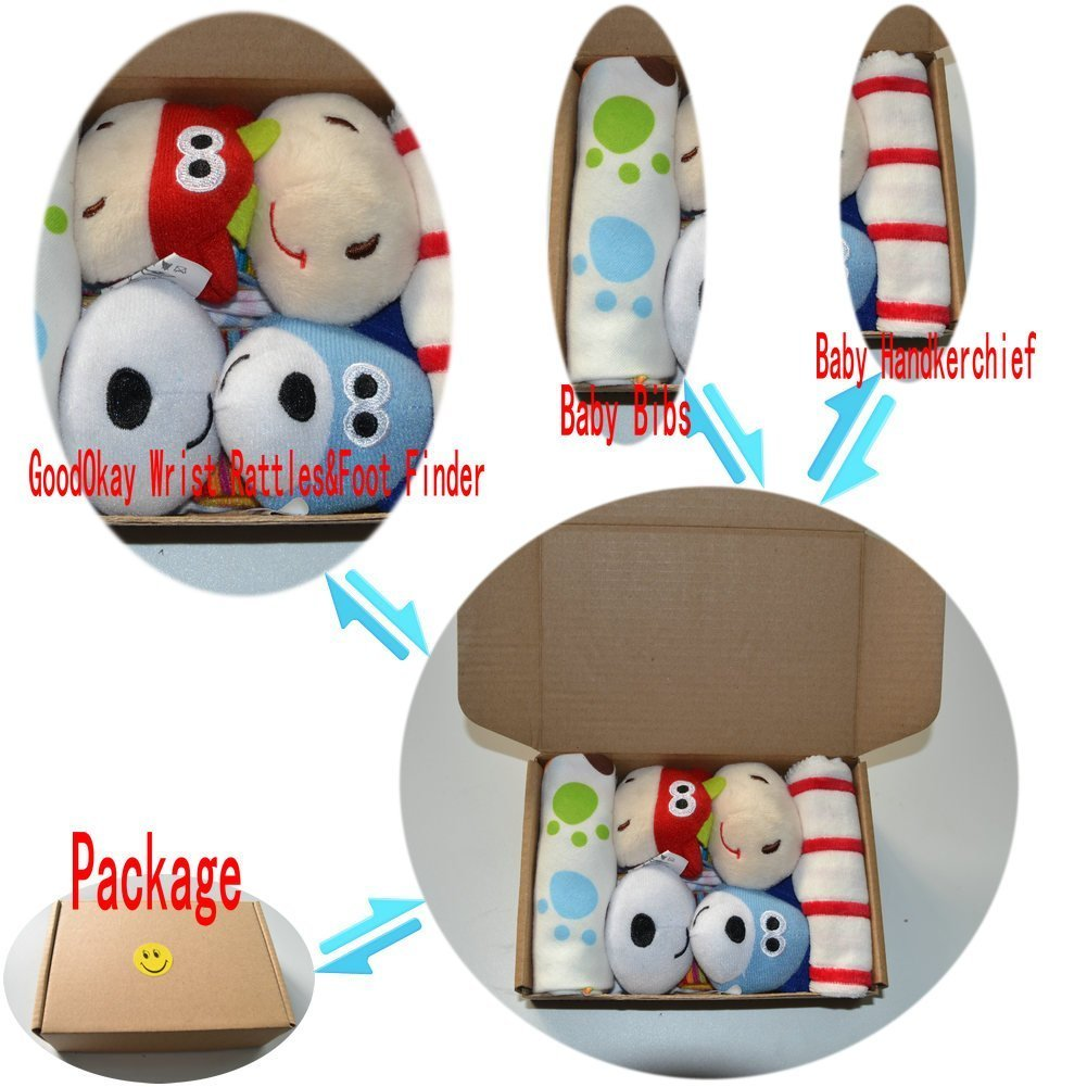 GoodOkay 4-Piece Baby Infant Soft Toy [Cow and Dog] Animal Wrist Rattle and Foot Finder Developmental Soft Toy Set with baby Cotton Bibs MEISILI