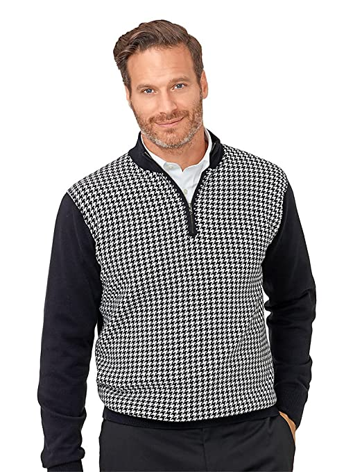 Men's Vintage Style Coats and Jackets Paul Fredrick Mens Cotton Houndstooth Zip Neck Sweater $114.50 AT vintagedancer.com