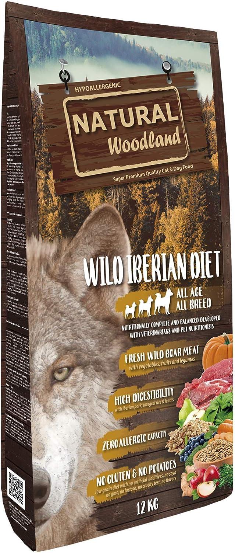Natural Greatness Pienso Seco para Perros Receta Natural Woodland Wild Iberian Diet. Super Premium. Todas Las Razas y Edades. Sin Gluten (12 Kg)
