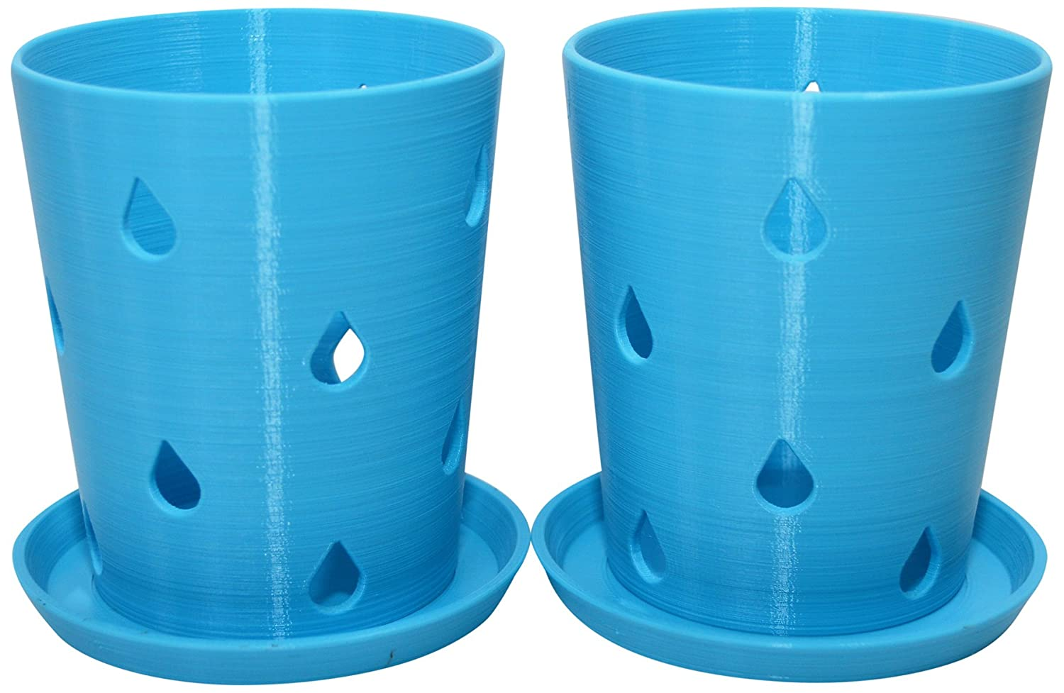 HD PRINTABLES Orchid Pots with Trays, Turquoise