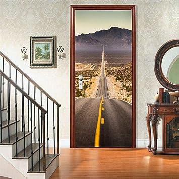 Etiqueta De La Puerta 3D Murales Diy Vinilo Paisaje de la carretera de asfalto (77x200cm) Papel Tapiz Carteles Pegatinas de Pared Para Dormitorio, cuarto de niños, arte moderno Decoraciones: Amazon.es: Bricolaje y