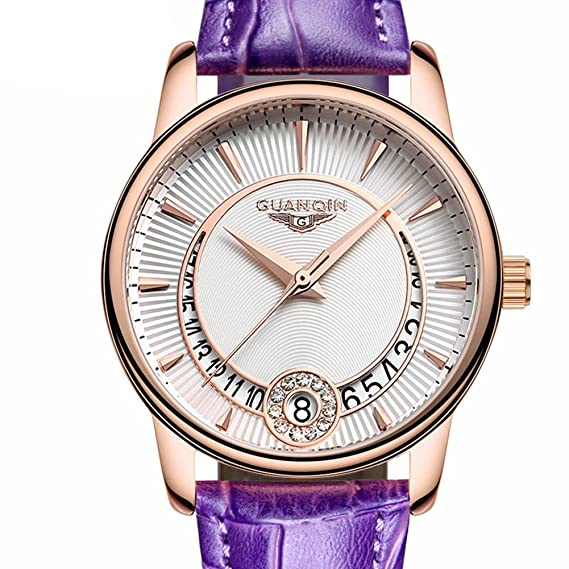 Marca de moda de lujo para mujer Rose Dorado Caso Cristal Relojes reloj mujer vestido de cuero fecha cuarzo relojes: Amazon.es: Relojes