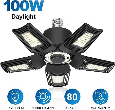 100W LED Garage Light Workshop,Warehouse Barn LED Garage Lights CRI 80 6000k Nature LED Shop Lights for Garage 100W 10000Lumens Adjustable Trilights Garage Ceiling Light