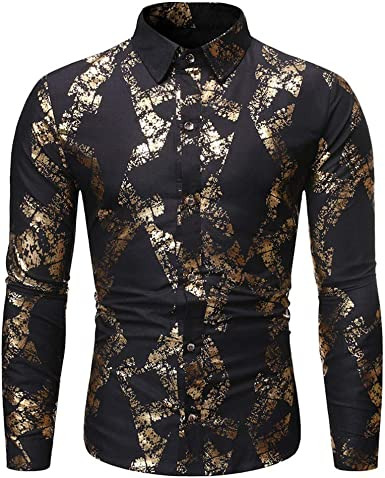 Abetteric Mens Gold Floral Long Sleeve Stand up Collar African Style Fit Work Shirt