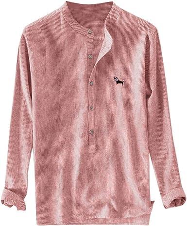 super lily shop Camisa de Lino para Hombre, con Botones y ...