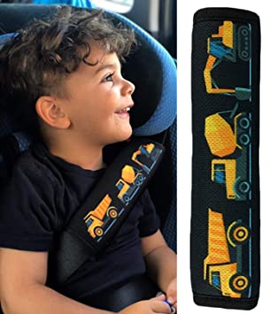 1x Heckbo Auto Gurtschutz Sicherheitsgurt Schulterpolster Schulterkissen Gurtschoner Autositze Gurtpolster Für Kinder Jungen Jungs Mit Baufahrzeuge Bagger Baby