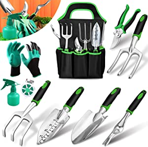 Garden Tools Set 10 Pieces, Gardening Kit Gifts with Heavy Duty Aluminum Hand Tool with Storage Organizer and Digging Claw Gardening Gloves Supplies Hand Tools, Gardening Gifts for Men Women Kids