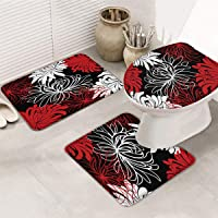 LALADecor 3 Piece Bathroom Rug Set Bath Rug, Contour Mat, Lid Cover Chrysanthemum Flower Red Black White Soft Bath Mats…