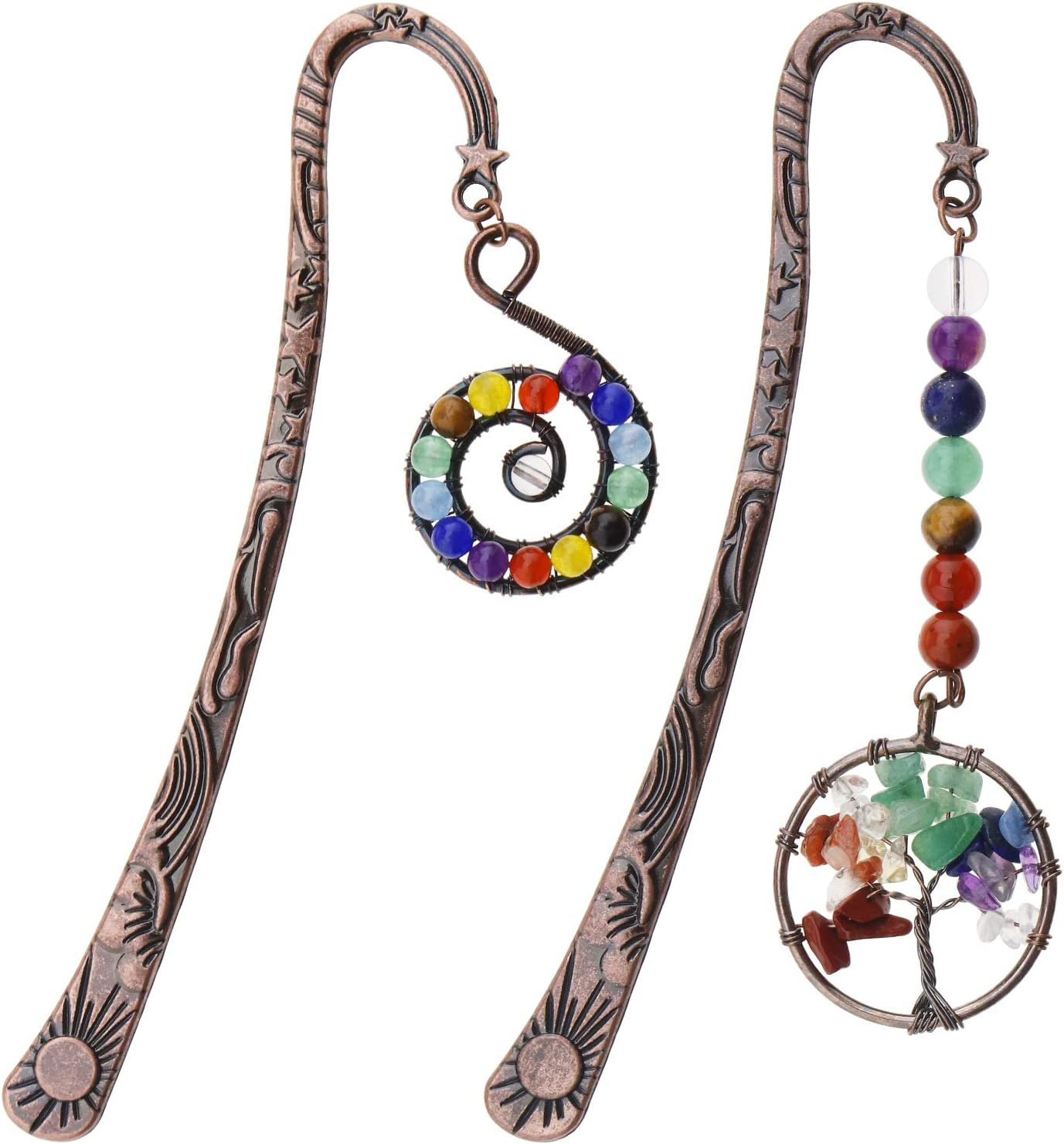 2 marcadores de metal, 7 chakras hechos a mano con cuentas de árbol de la vida y colgante de cristal en forma de Whirlpool para regalo de lector