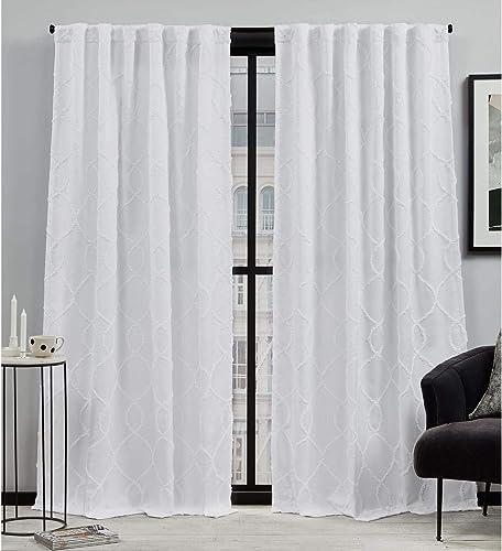 Elle Decor Laine Light Filtering Back Tab Rod Pocket Curtain Panel Pair