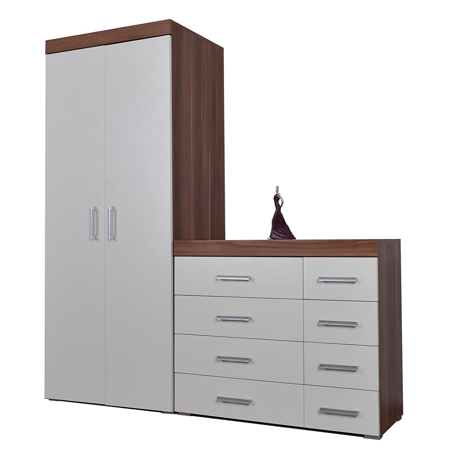 DP 4+4 Drawer Chest Drawers & 2 Door Wardrobe White & Walnut Effect Bedroom Set