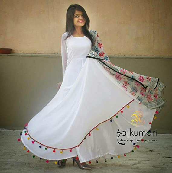 0ee2c4baa5 womens Georgette White Designer gown style salwar suit heavy  With Pom Pom  Fancy Latkhan And Broder With Digital Flowers Dupatta  Amazon.in  Clothing    ...