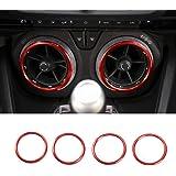 for Camaro Accessories AC Knobs Air Conditioner Outlet Vent Trim for 2016-2019 Chevrolet Camaro, Red Aluminum, 4pcs