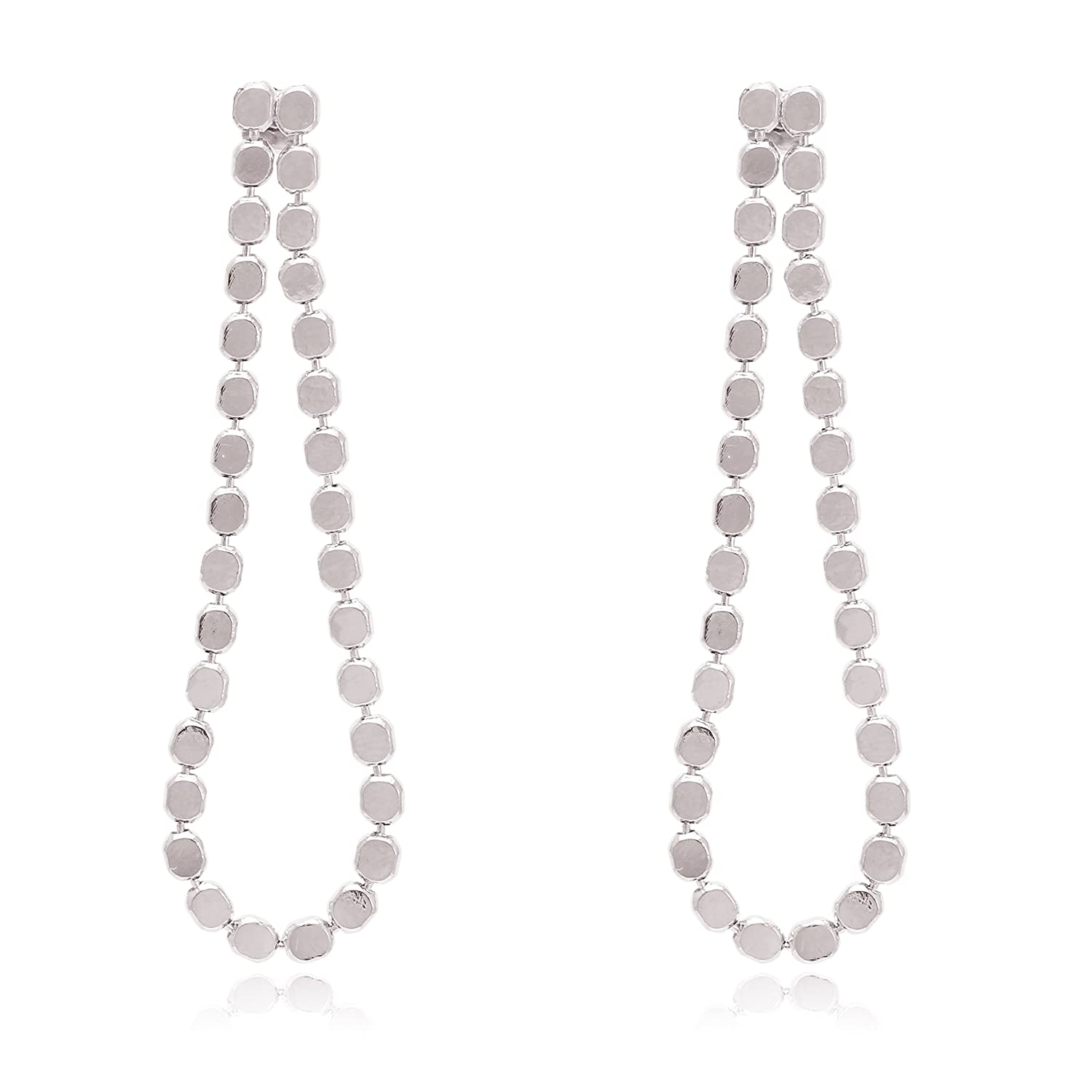 Dots Raindrop Artistic Modern Metal Frame with Gold or Silver Plated Statement Earrings