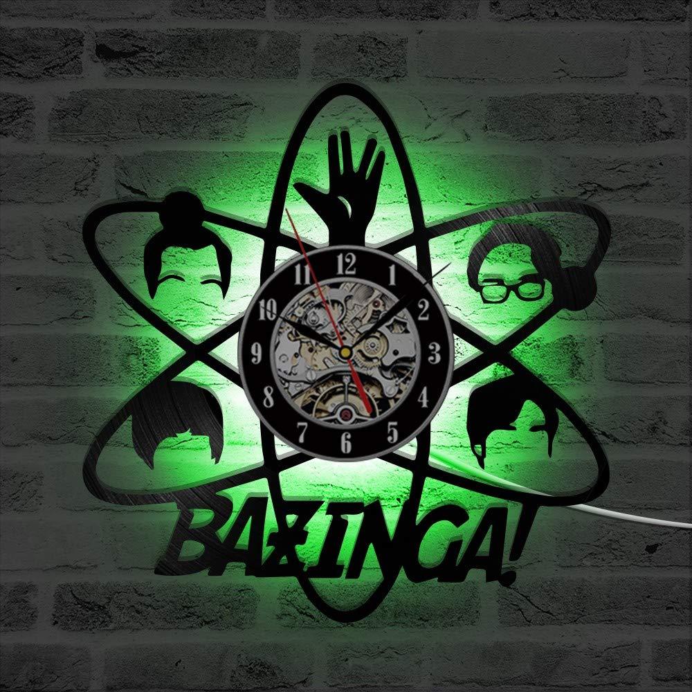 Bazinga Big Bang Theory CD Vinyl LED Rekord Wanduhr Schwarz Hohl ...