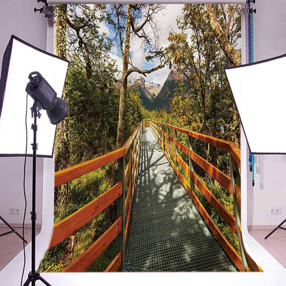 Countryside 10x15 FT Backdrop Photographers,Wooden Boardwalk in Forest Wilderness Getaway Footpath Summertime Hike Background for Child Baby Shower Photo Vinyl Studio Prop Photobooth Photoshoot