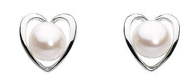 Dew Women's Sterling Silver Simple Open Heart Stud Earrings LeVrWNad