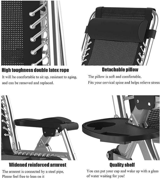 Color : with Gray Cushion FENGLIAN Comodo Divano Patio sedie reclinabili gravit/à Zero Sedie a Sdraio allaperto Giardino a Dondolo Sedia a Sdraio for la Spiaggia di Campeggio Supporto 200kg