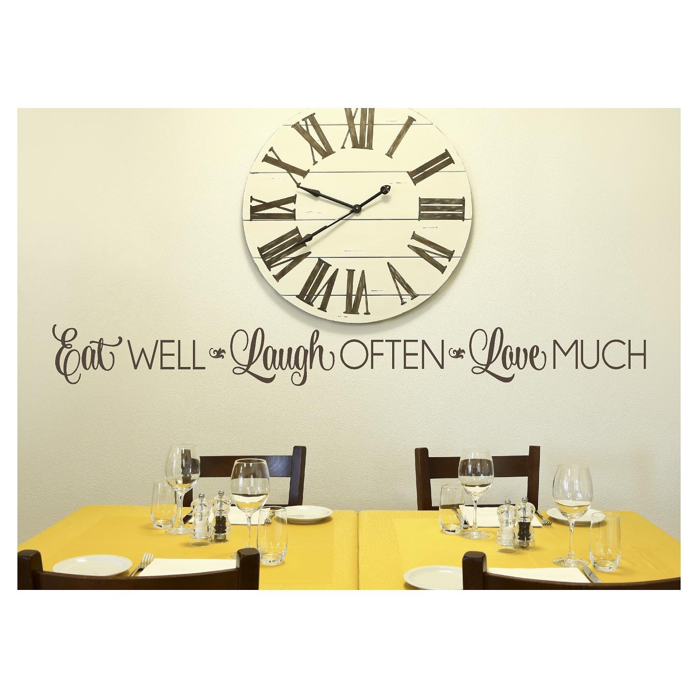 Eat Well, Laugh Often, Love Much Vinyl Lettering Wall Decal Stickerr (6''H x 57''L, Metallic Bronze)
