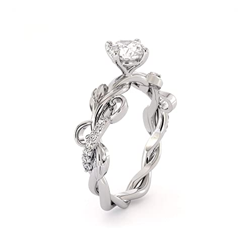 11d6f1fd2df9c Amazon.com: Unique Moissanite Engagement Ring 14K White Gold Ring ...