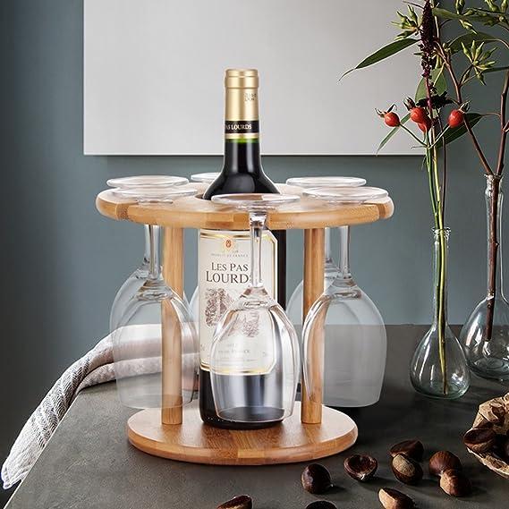 Bao Xing Bei Firm Botelleros Estanterías para Vino Decoración Portavasos para Vino Tinto Portavasos Portavasos para Vino (Color : Wood Color, ...