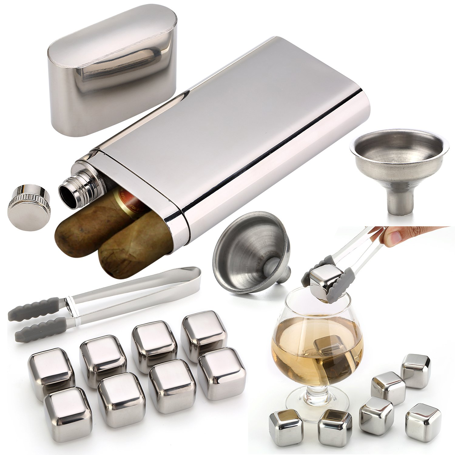 Stainless Steel Chilling Rocks / Stones (8) + Dual Cigar Flask (1) [Gift Set] + Funnel (1) + Tongs (1) [FDA Approved]