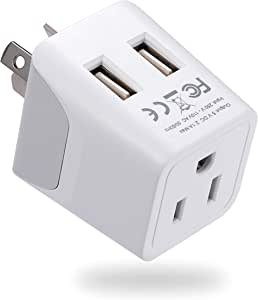 Australia, New Zealand, China Travel Adapter Plug by Ceptics, Dual USB Input - Ultra Compact - USA to Type I - Perfect for Cell Phones, Chargers, Cameras, Tablets, and more (CTU-16)