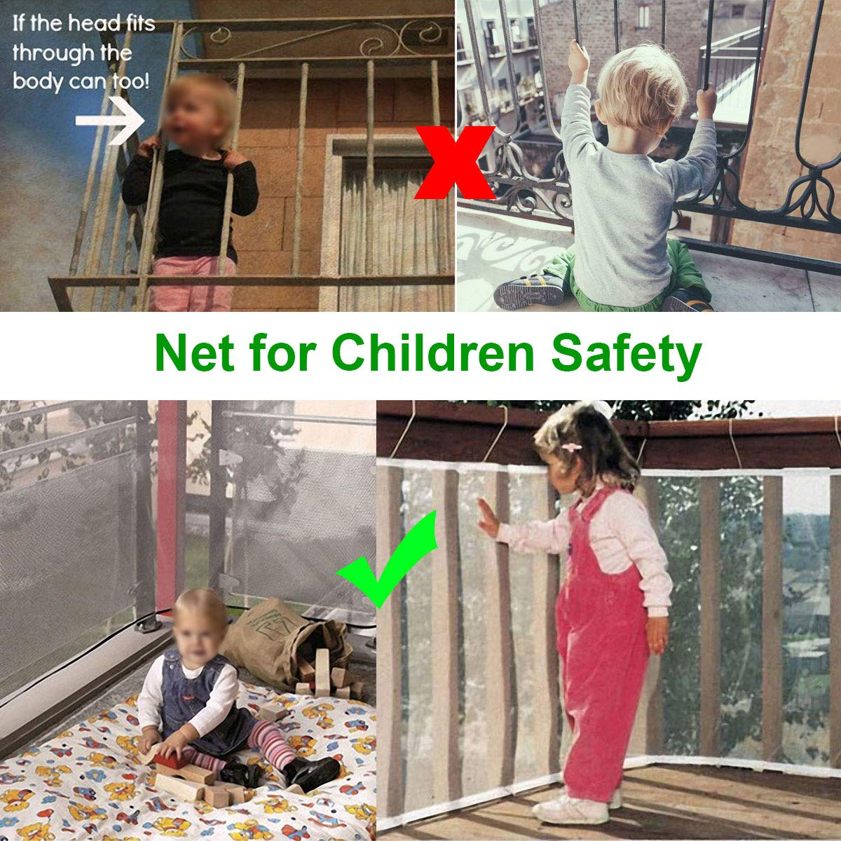 Children Safety Rail Balcony Stairs Safety Net Banister Stair Safety Net