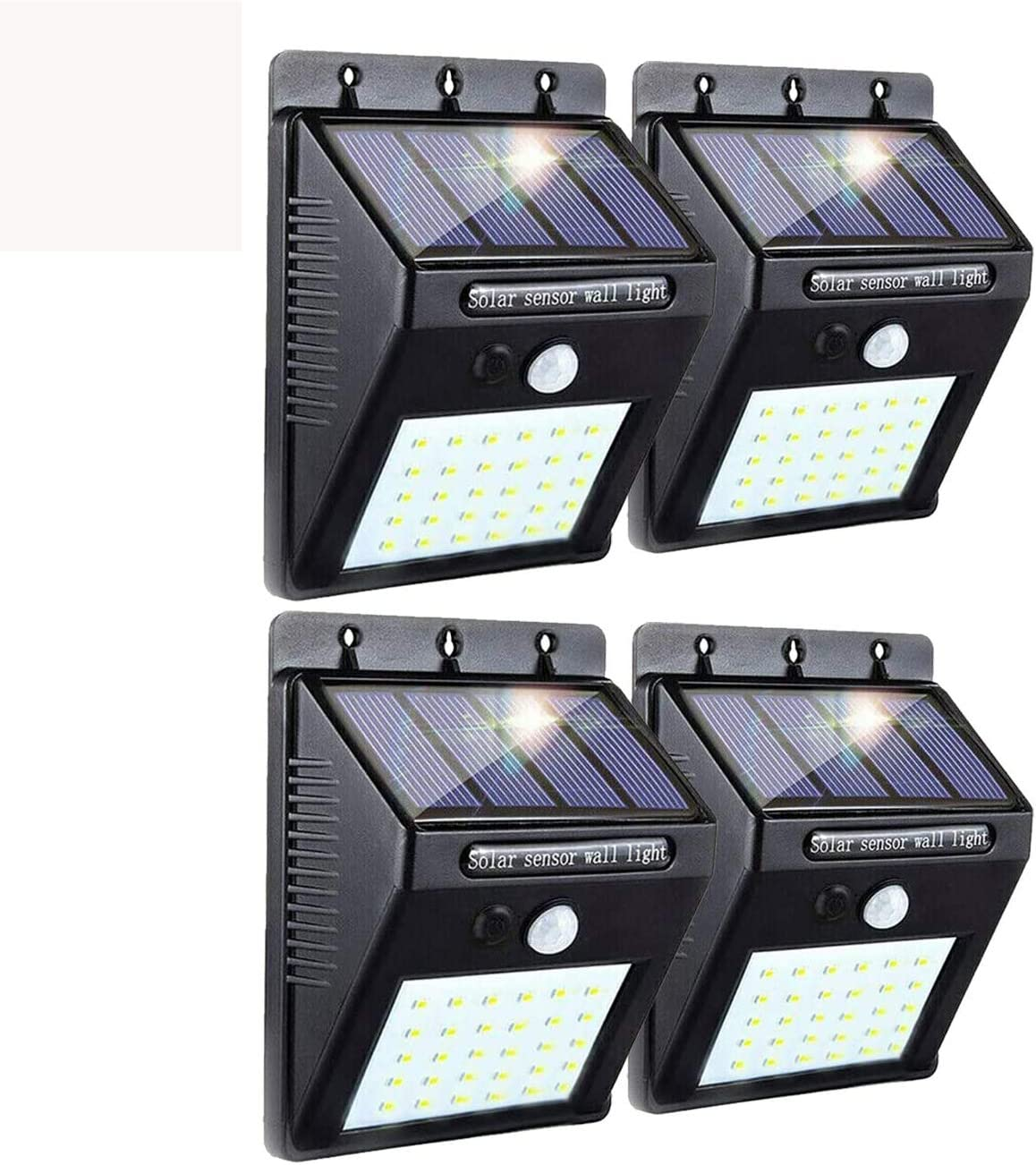 WSgift 4 Pack Solar Wireless Motion Sensor Lights, 30 LED Flood Lights, IP65 Waterproof Wall Lights Security Lights for Outdoor Garden, Patio, Yard, Deck, Garage, Driveway, Fence Easy-to-Install