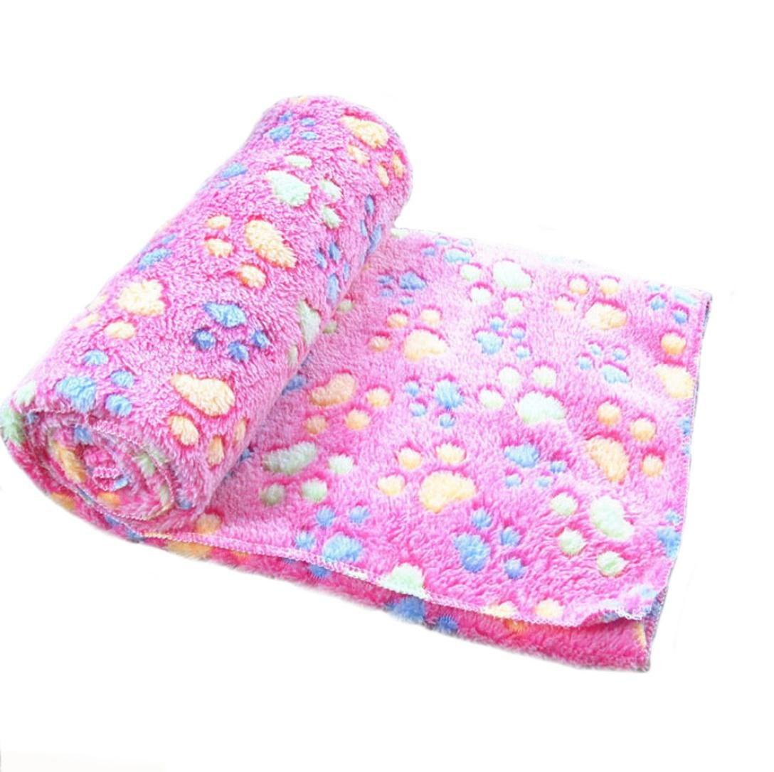 OOEOO Warm Pet Mat Paw Print Cat Dog Puppy Fleece Soft Blanket Doggy Bed Cover Quality (Hot Pink, S)
