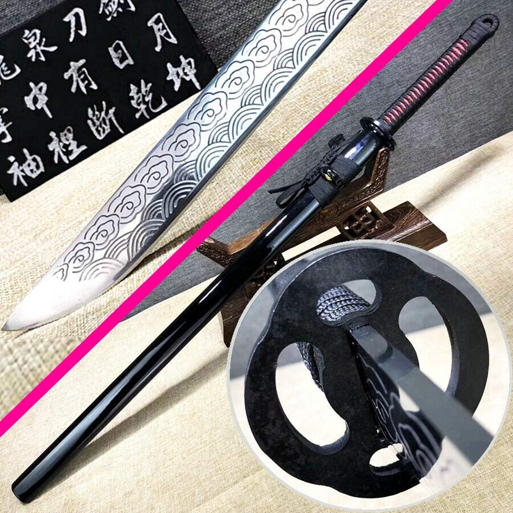 Handmade Japanese Samurai Straight Knife Saber Strong 60HRC High Manganese Steel Blade Sharp Ninja Dao Sword Katana by Generic