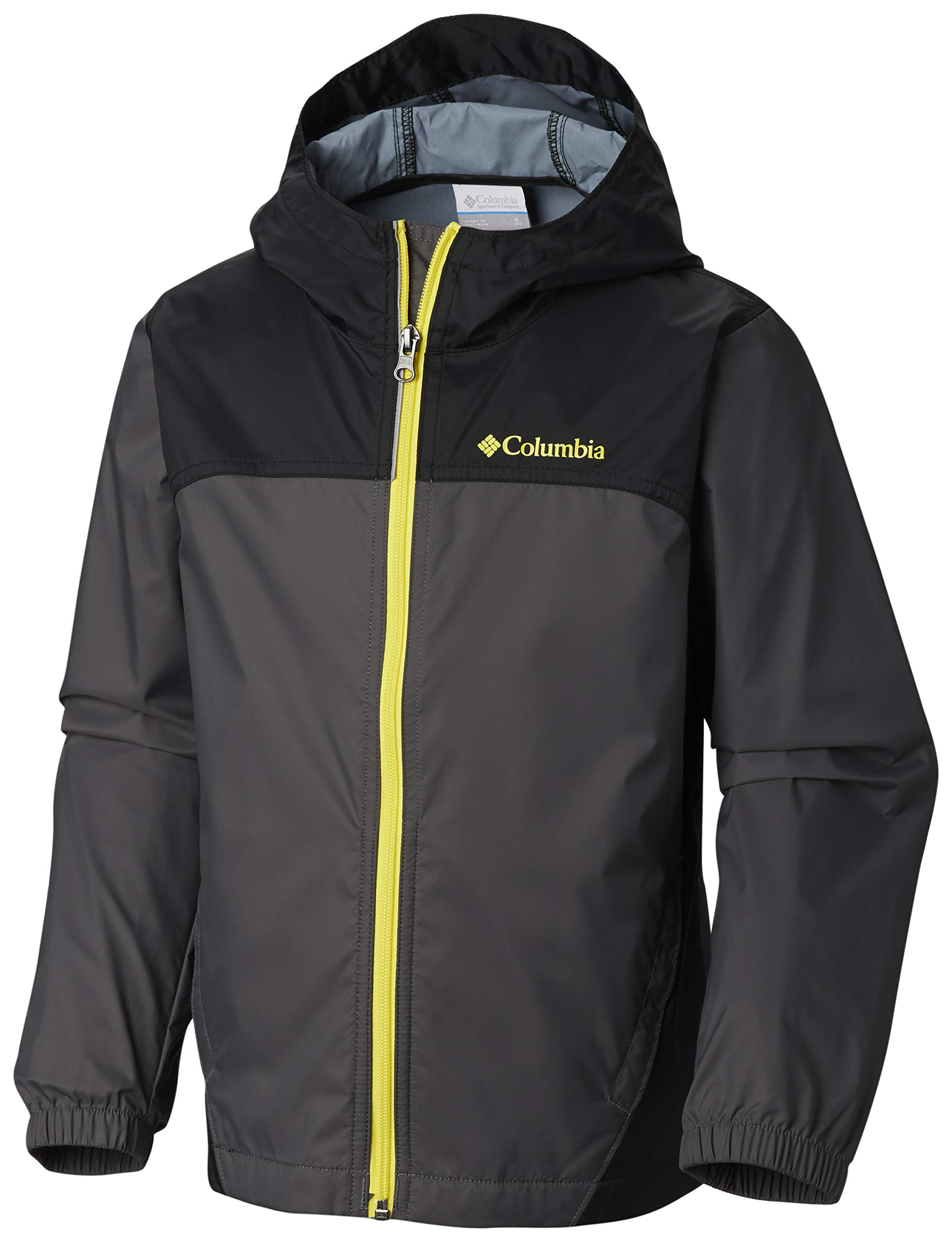 Columbia Boys' Little Glennaker Rain Jacket, Grill/Black X-Small