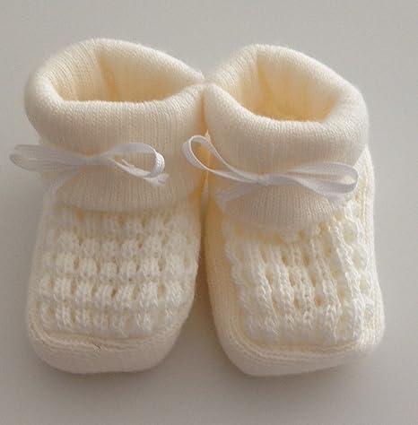 Par de zapatillas/patucos para bebe – 0 meses rosa, Creme, azul o