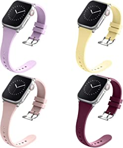 Compatible with Apple Watch Bands 38mm 40mm 42mm 44mm for Women Men, Adepoy Soft Silicone Narrow Slim Replacement Sport Wristbands for iWatch Series 6 5 4 3 2 1 SE