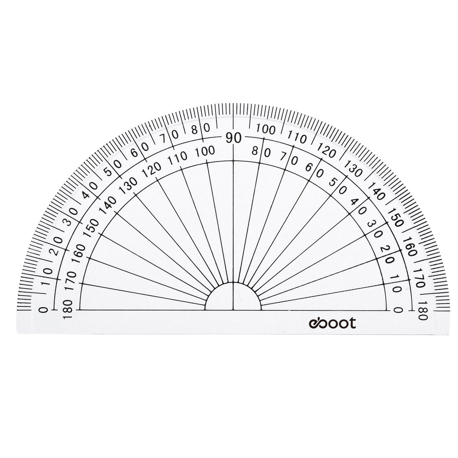 eBoot 28 Pack Clear 180 Degree Plastic Protractors for Angle Measurement, 10 cm by eBoot (Image #2)