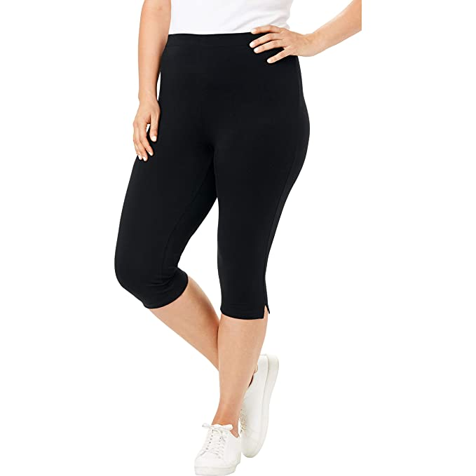 Woman Within Women\'s Plus Size Petite Stretch Cotton Capri Legging
