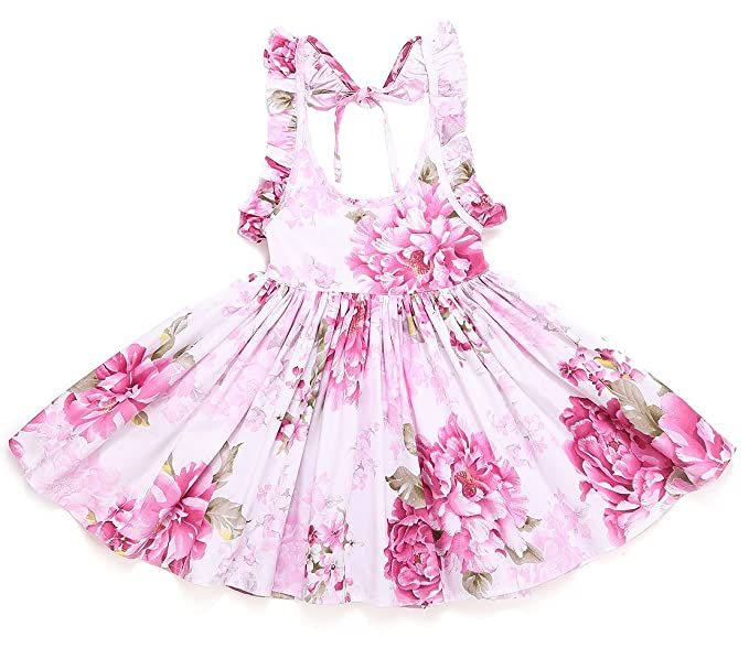 2f421fcf93 Flofallzique Girls Vintage Dress Baby Girls Floral Dress Summer Holiday  Backless Toddler Dress(1