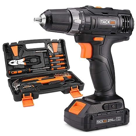 60-piece 20V Power Drill Driver&Basic Hand Tool Kit Household Tool Set for  Home, Apartment, Shop, Dormitary-PHK06B