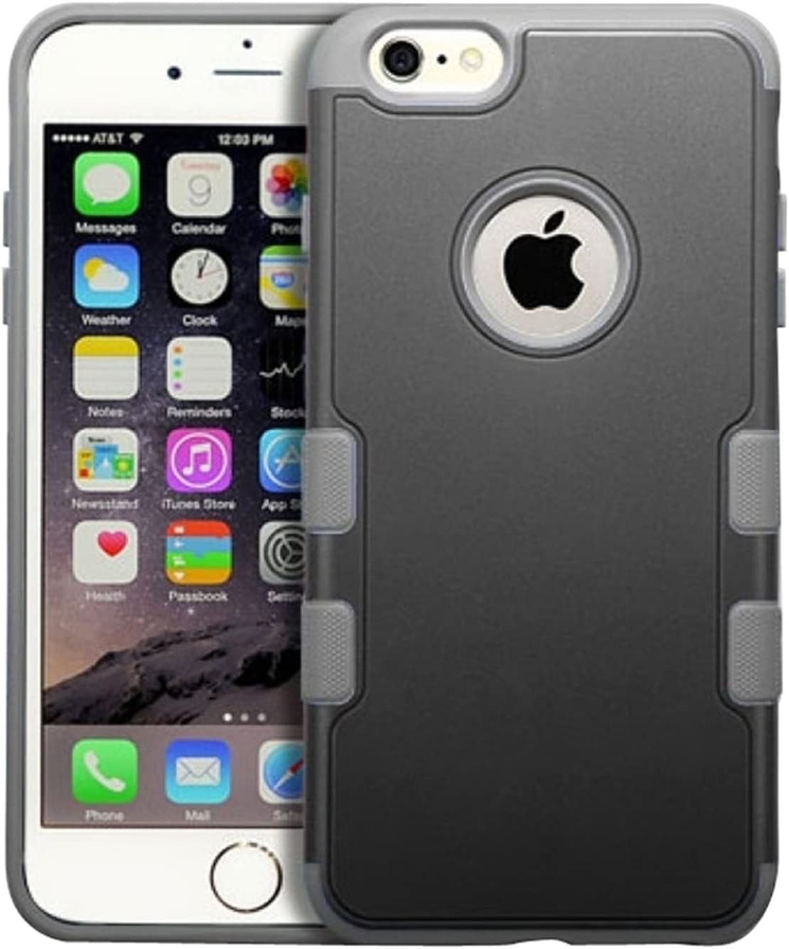 MyBat iPhone 6 Plus TUFF Merge Hybrid Protector Cover - Retail Packaging - Black/Gray