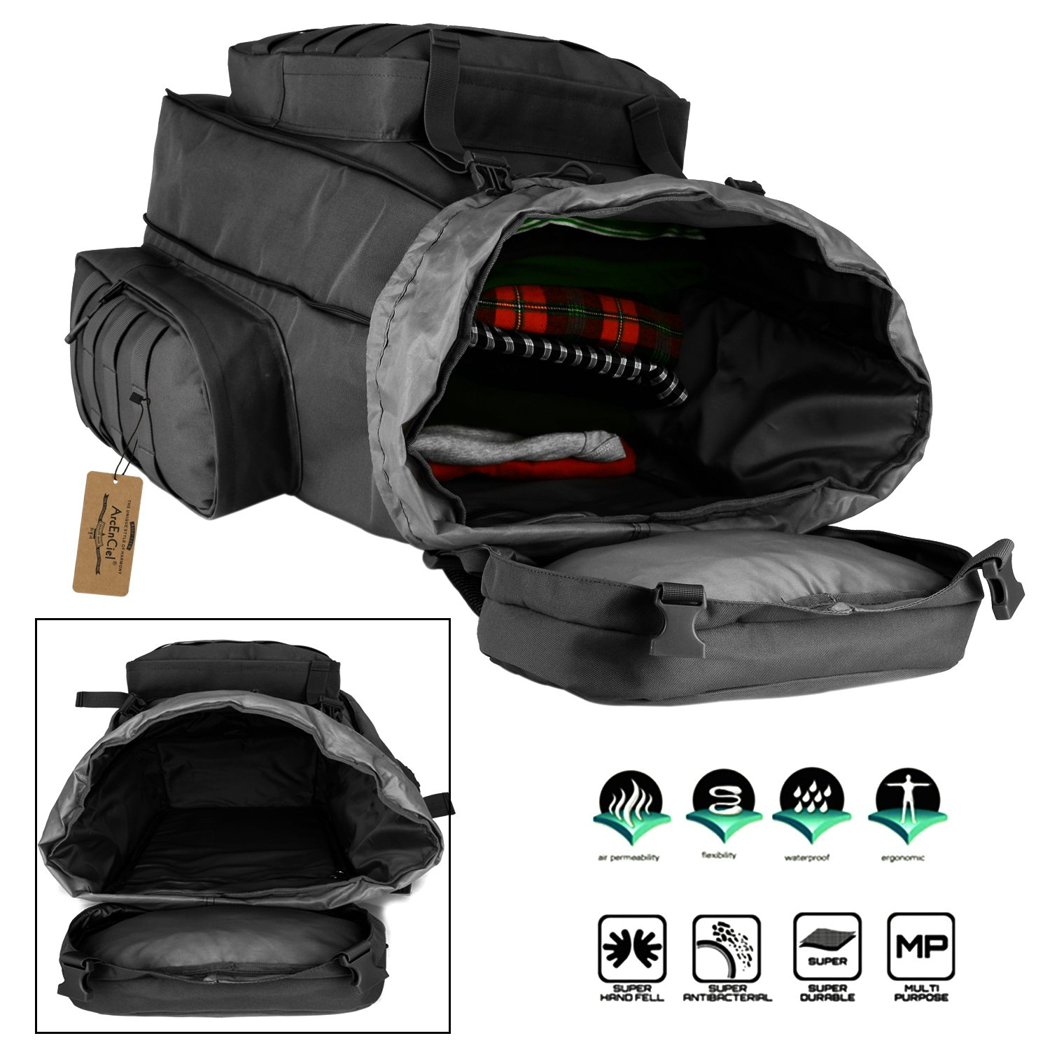 ArcEnCiel 70-85L Large Capacity Tactical Travel Backpack MOLLE Rucksack Outdoor Travel Bag for Travelling Trekking Camping Hiking Hunting -Rain Cover Included (Black) by ArcEnCiel (Image #6)